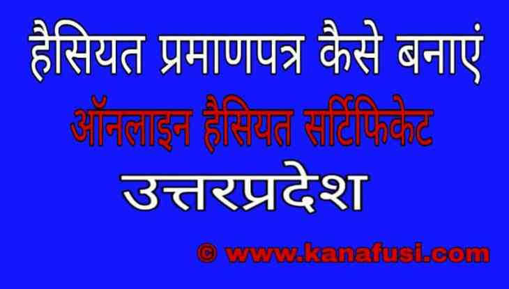 Online Haisiyat Praman Patra Kaise Banta Hai in Hindi