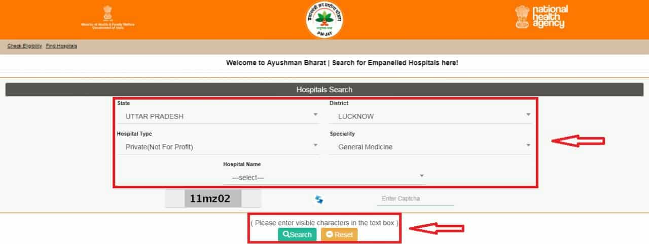 Search Ayushman Bharat Hospital List Hindi Mea