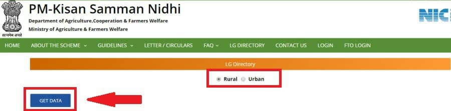 Select Rural Urban Option