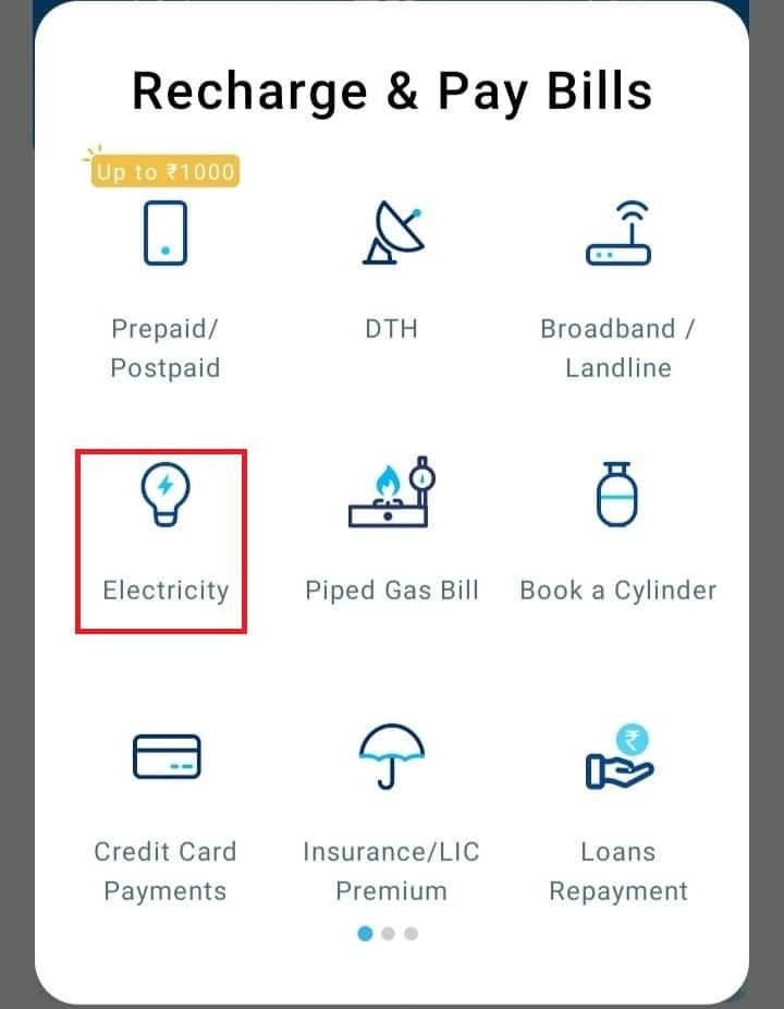Choose Electricity Option