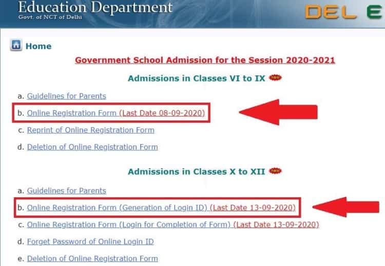 Delhi Govt School 6th to 12th Admission